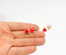 Cheesecake heart studs / mini foodie charm / miniature food jewelry / red heart earrings